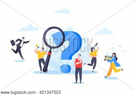 Q And A Or Faq Concept With Tiny People Characters, Big Question Mark, Frequently Asked Questions Te