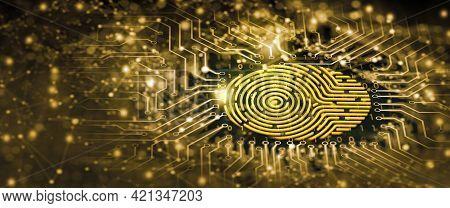 Future Security Technology. Fingerprint Scan Provides Security Access In Dof. Fingerprint Security C