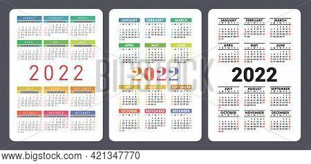 Calendar 2022 Year. English Colorful Vector Set. Vertical Wall Or Pocket Calender Template. Design C