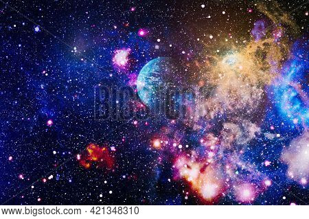 Star Dust And Pixie Dust Glitter Space Backdrop. Space Stars And Planet Conceptual Image. Elements O