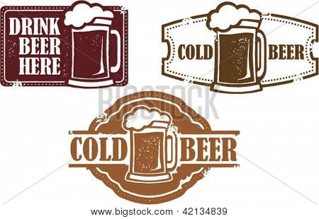 Vintage Style Vector Beer Stamps
