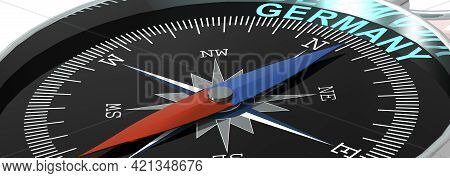 Compass Needle Pointing To Word Germany, 3d Rendering