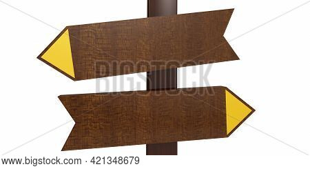 Wooden Sign Post Isolated On White Background, 3d Rendering