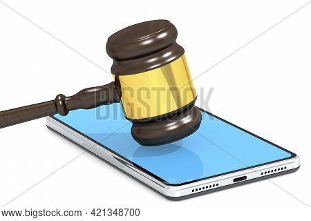 Gavel Hammer And Mobile Phone, 3d Rendering
