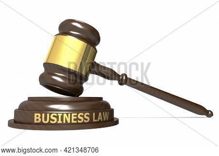 Wooden Judge Gavel With Business Law Word, 3d Rendering