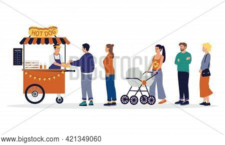 People Queue. Street Food Cart With Waiting In Line Customers. Men And Women Buy Hot Dogs At Kiosk.