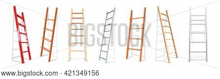 Realistic Staircase. 3d Wooden Or Metal Stairs Constructions. Isolated Stepladders Lean On Wall. Rep