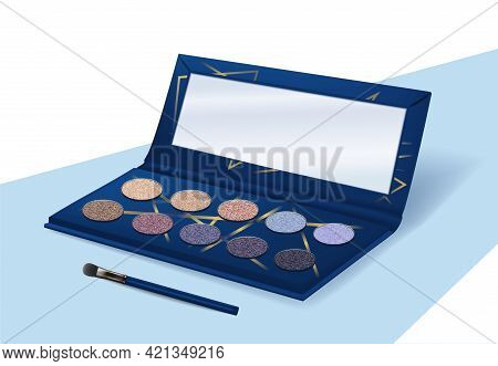 Realistic Eyeshadow. Makeup Palette. Shimmering Powder Kit. Opened Container With Mirror And Eye Bru