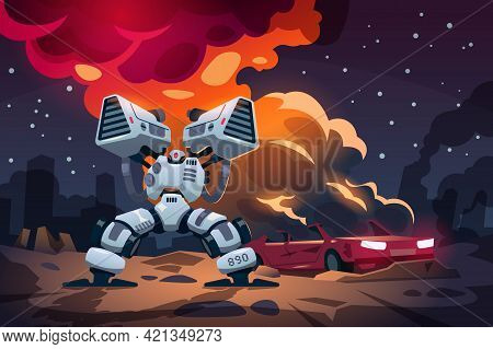 Cartoon Game War. Alien Robots Battle. Landscape With Burning Car And Armored Machines In Combat. In