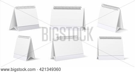 Desk Calendar. Realistic Table Stand Mockup With Pages And Spiral Springs. 3d Office Organizers Set.