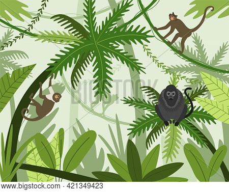 Monkeys In Jungle. Cartoon Apes Climbing Trees In Rainforest. Exotic Natural Background With Wild An