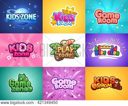 Baby Zone. Kids Playroom Cartoon Banners. Colorful Posters Set With Lettering And Funny Mascots. Ent