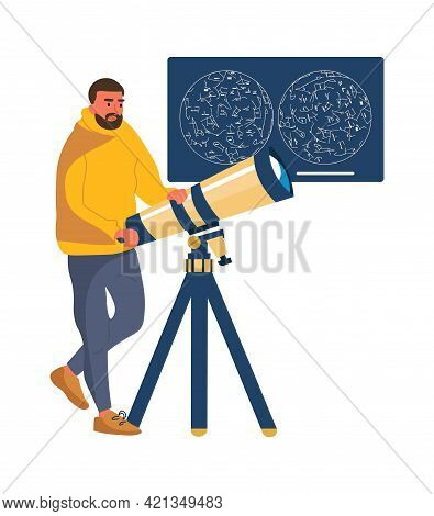 Man Looks Through Telescope. Cartoon Male Studying Stars. Home Hobby. Astronomical Constellation Cha