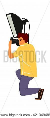 Professional Photographer. Cartoon Man Taking Pictures. Male Squatted Down And Shoots Photos. Charac