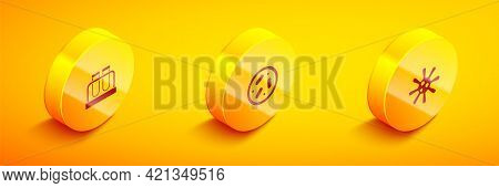Set Isometric Test Tube And Flask, Petri Dish With Bacteria And Bacteria Icon. Vector