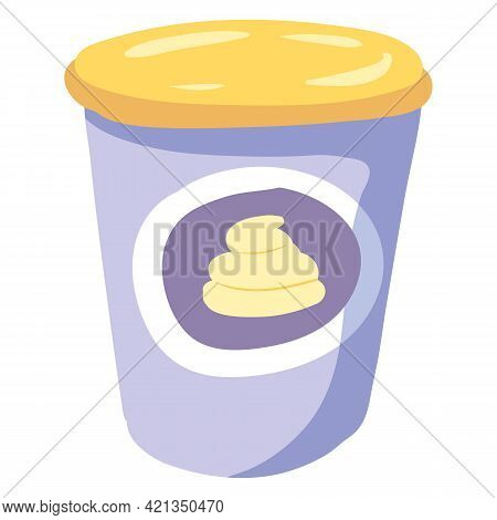 Sour Cream Sauce, Healthy Milk Food Nutrition Organic Product, Plastic Package Pot Cup. Vector Hand