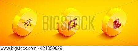 Set Isometric Stretcher, Medical Symbol Of The Emergency And Gypsum Icon. Vector