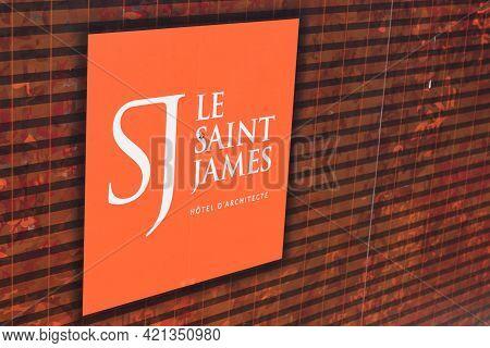 Bordeaux , Aquitaine France - 05 18 2021 : Le Saint James Architect Hotel Restaurant Part Of Relais