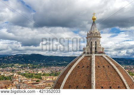 Dome Of The Cathedral Of Santa Maria Del Fiore Close-up Against The Backdrop Of The Cityscape On A C