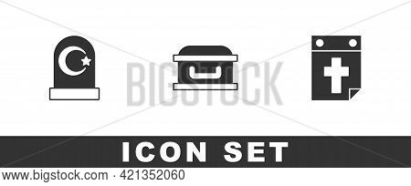 Set Muslim Cemetery, Coffin With Cross And Calendar Death Icon. Vector
