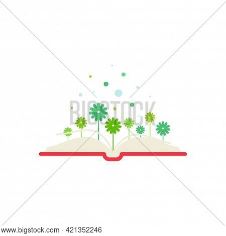 Open Book With Green Flowers. Flat Icon Isolated On White Background. Reading Icon. Vector Illustrat