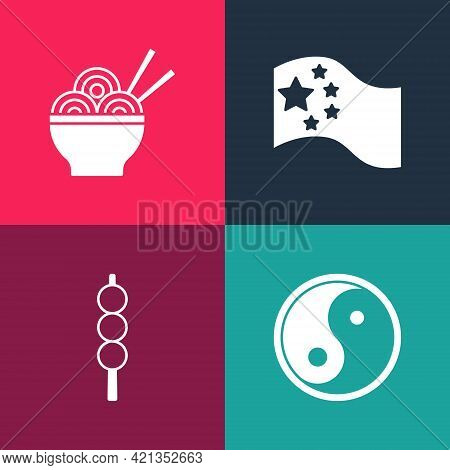 Set Pop Art Yin Yang, Meatballs On Wooden Stick, China Flag And Asian Noodles Bowl Icon. Vector
