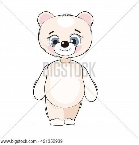 Little Polar Bear Cub. Isolated Object On A White Background. Cheerful Kind Animal Child. Cartoons F