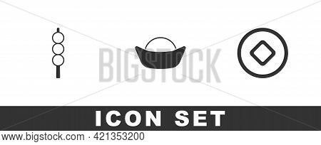 Set Meatballs On Wooden Stick, Sushi And Chinese Yuan Currency Icon. Vector