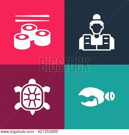 Set Pop Art Lobster Or Crab Claw, Turtle, Fisherman And Sushi Icon. Vector