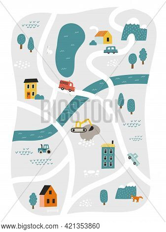 Cute Town Map For Kids Room. Hand Drawn Vector Illustration Of A City Or Village With Roads, Streets