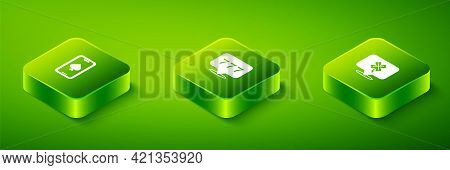 Set Isometric Slot Machine With Jackpot, Casino Slot Clover And Online Poker Table Game Icon. Vector