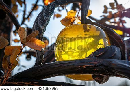 Artificial Translucent Apple Made From Amber In Yantarny, Russia.