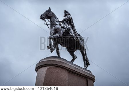 Bronze Monument To Peter The Great Riding A Horse. Upward View.