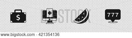 Set Briefcase And Money, Online Poker Table Game, Casino Slot Machine With Watermelon And Slot Jackp