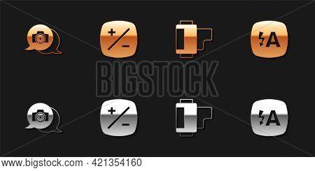 Set Photo Camera, Exposure Compensation, Camera Roll Cartridge And Auto Flash Icon. Vector