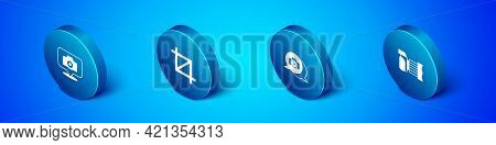 Set Isometric Photo Camera, , And Picture Crop Photo Icon. Vector