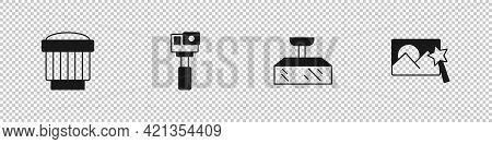Set Camera Photo Lens, Action Camera, Softbox Light And Photo Retouching Icon. Vector