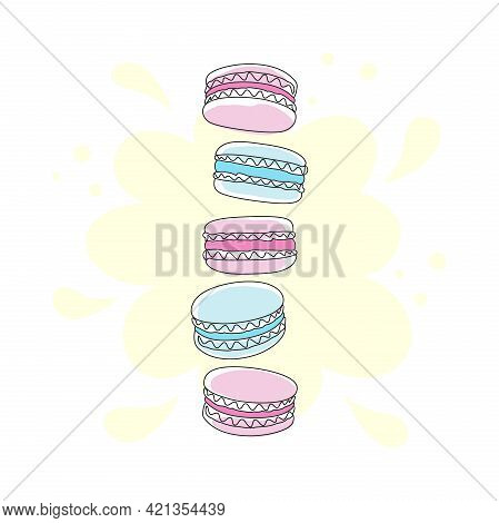 Abstract Pink And Blue Macaroons Isolated On A White Background With A Pale Yellow Spot. French Swee