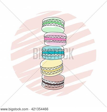 Icon, Label, Emblem, Logo, Badge With Stack Of Colored Macaroons Isolated On A White Background. Fre