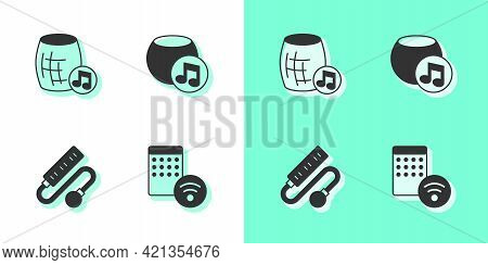 Set Air Humidifier, Voice Assistant, Electric Extension Cord And Icon. Vector