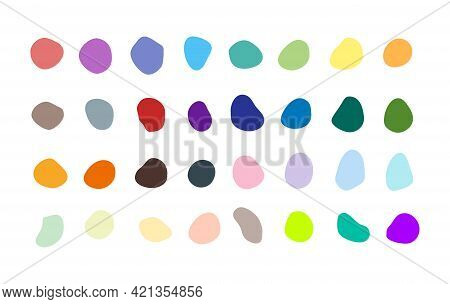 Set Of Many Isolated Vector Blotches, Inkblots - Rich Collection Of Organic Blobs, Blots
