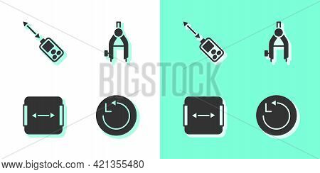 Set Radius, Laser Distance Measurer, Area Measurement And Drawing Compass Icon. Vector