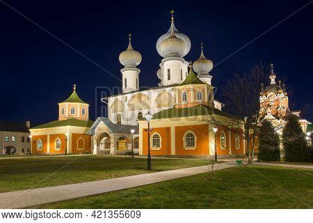 Assumption Cathedral Of The Tikhvin Theotokos Assumption Monastery In The Night Illumination Of The
