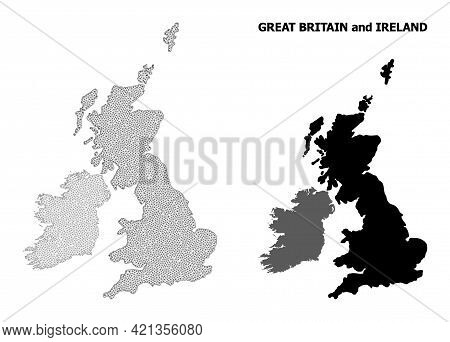 Polygonal Mesh Map Of Great Britain And Ireland In High Detail Resolution. Mesh Lines, Triangles And