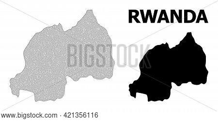 Polygonal Mesh Map Of Rwanda In High Resolution. Mesh Lines, Triangles And Dots Form Map Of Rwanda.