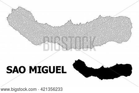 Polygonal Mesh Map Of Sao Miguel Island In High Resolution. Mesh Lines, Triangles And Points Form Ma