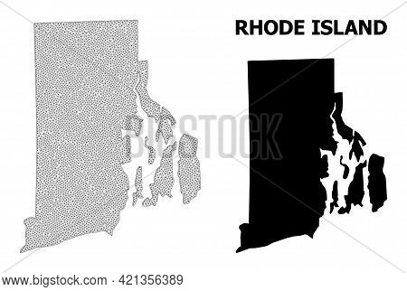 Polygonal Mesh Map Of Rhode Island State In High Detail Resolution. Mesh Lines, Triangles And Points