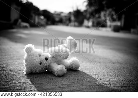 Black And White Of Alone Toy Teddy Bear Doll Sleep On Middle Of Road. Lonely, Sad, Broken Heart Or I