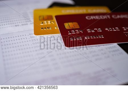 Credit Card On Book Bank. Planing Earn Investment And Saving Money Future For 2022 New Year. Finance