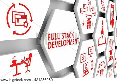 Full Stack Development Concept Cell Background 3d Illustration